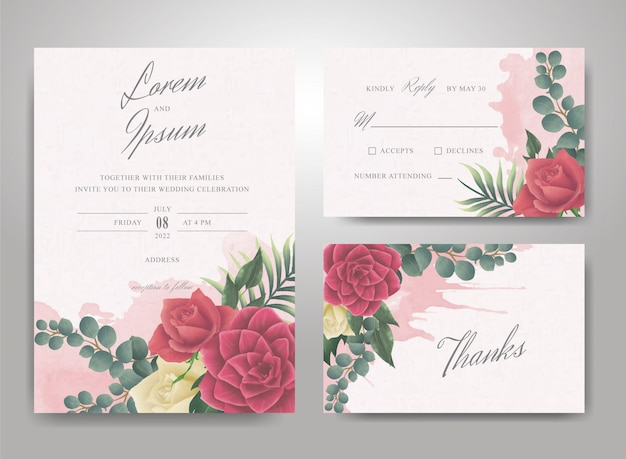 Wedding invitation template with watercolor splash and elegant arrangement flower and leaves Premium Vector
