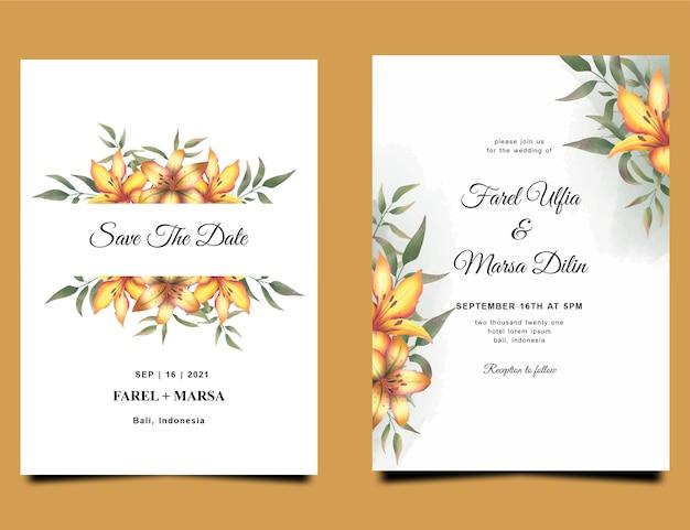 水彩黄色のユリの花の花束の装飾と結婚式の招待状のテンプレート Premiumベクター