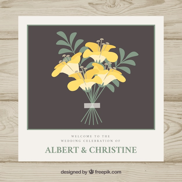 Wedding Invitation Template With Yellow Flowers Vector