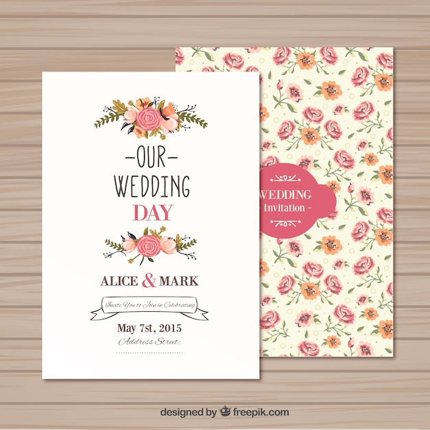 wedding invitation template vector | free download, Wedding invitations