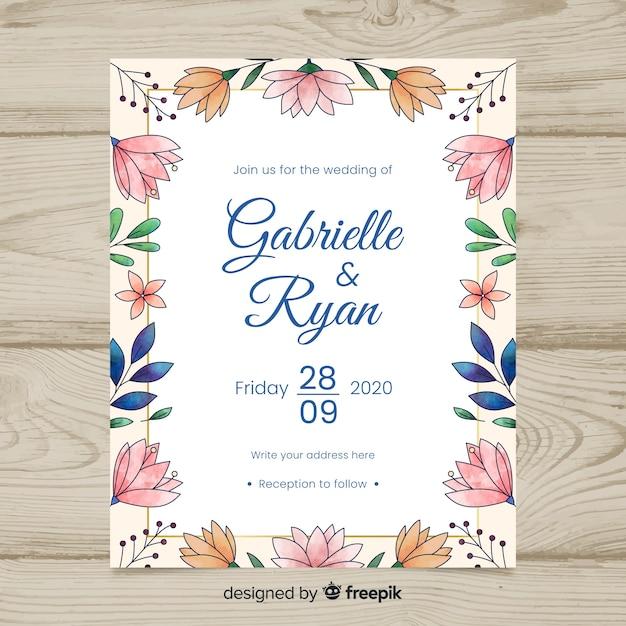 Wedding invitation template Free Vector
