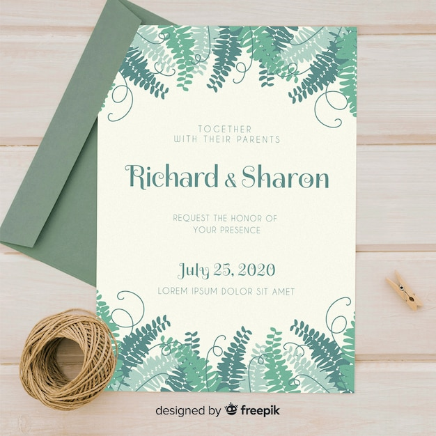 Wedding invitation template Free Vector