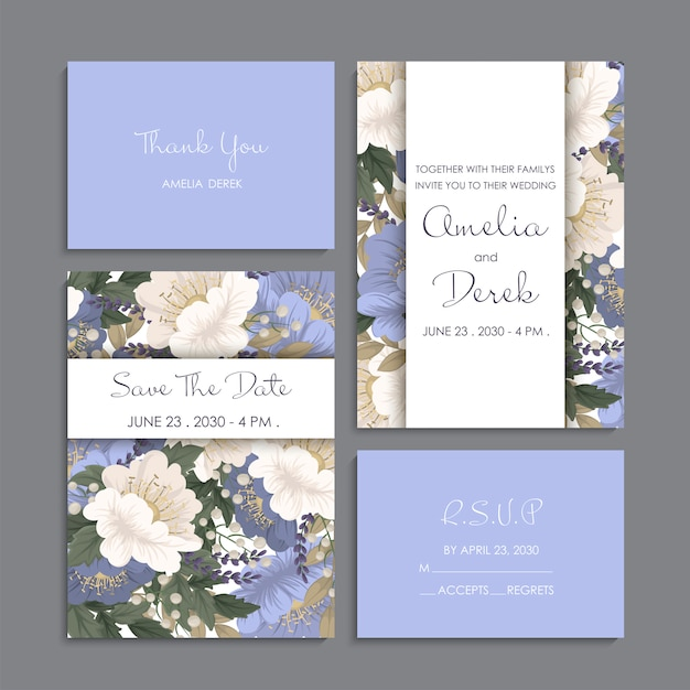 Wedding invitation, thank you card, save the date cards. Free Vector