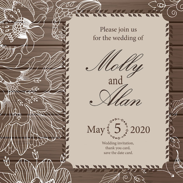 Wedding invitation, thank you card, save the date cards. Premium Vector
