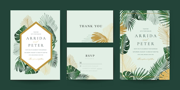 Wedding invitation, thank you and rsvp card template Premium Vector