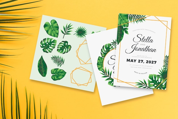 Wedding invitation theme with leaves Free Vector