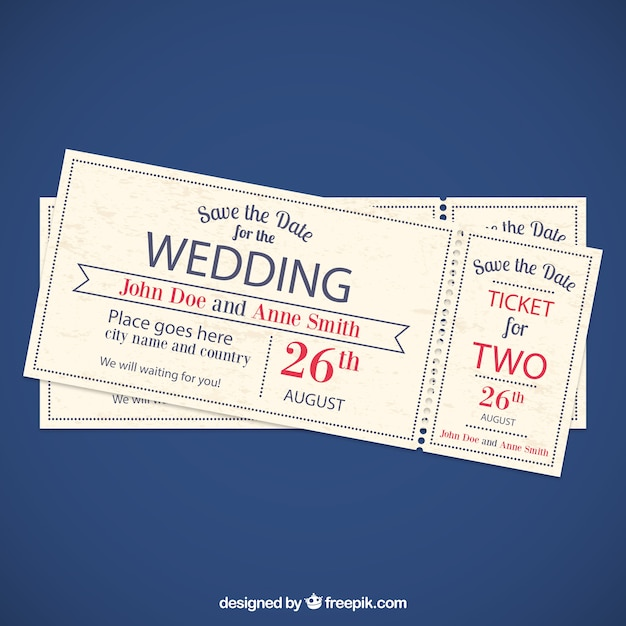Invitation Ticket Wedding Invitation Tickets Vector  Free Download