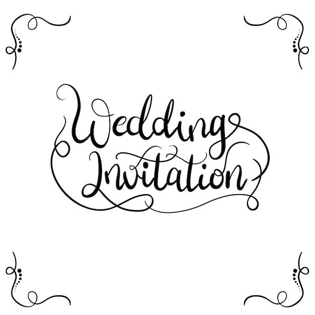 Wedding invitation typography for invitation card Free Vector