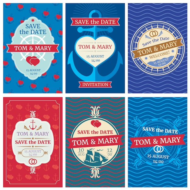 Wedding invitation vector cards with nautical design. anchors and waves, hearts and ships Premium Vector