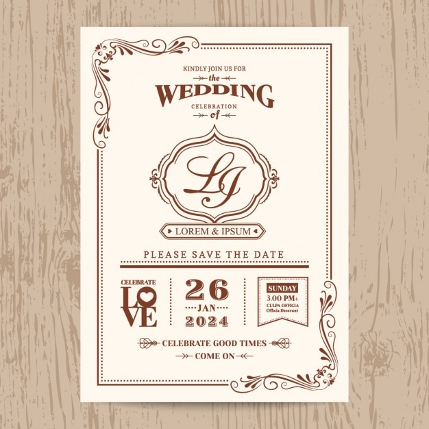 Wedding invitation vintage style vector free download wedding invitation vintage style free vector stopboris Images