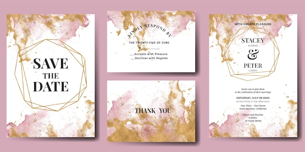 Wedding invitation watercolor abstract glitter gold Free Vector