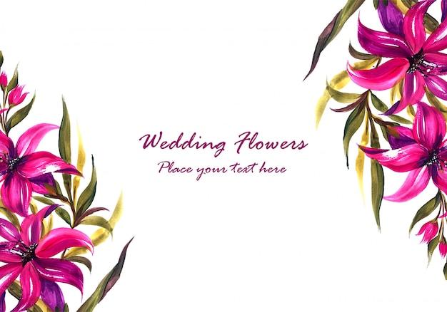 Wedding invitation watercolor decorative flowers card template Free Vector