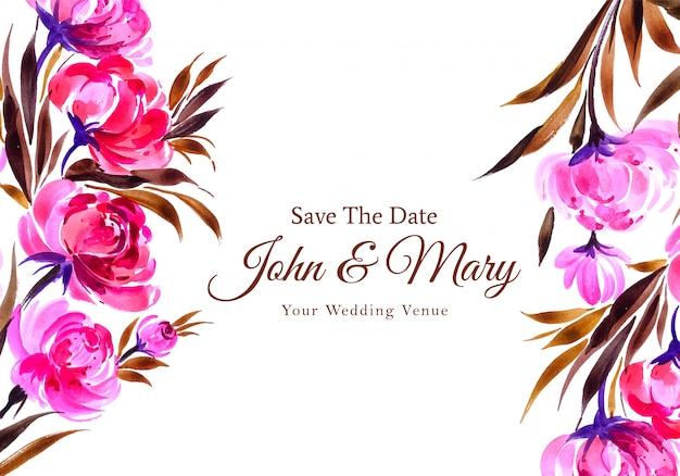 Carta di fiori decorativi dell'acquerello dell'invito di nozze Vettore gratuito