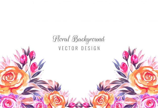 Wedding invitation watercolor flowers card background Free Vector