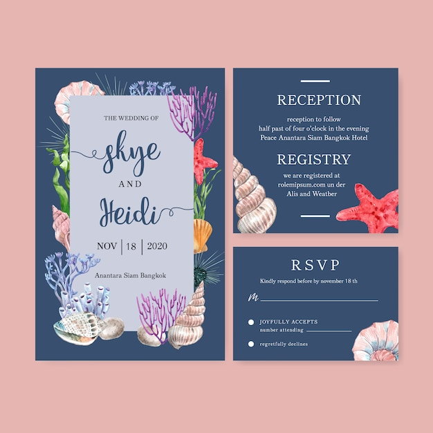 Wedding invitation watercolor with sea animal frame, blue background illustration Free Vector