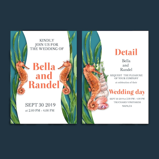 Wedding invitation watercolor with seahorse with kelp concept for decoration card. Free Vector