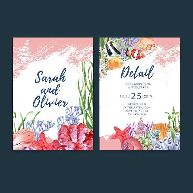Wedding invitation watercolor with sealife theme, watercolor illustration template. Free Vector