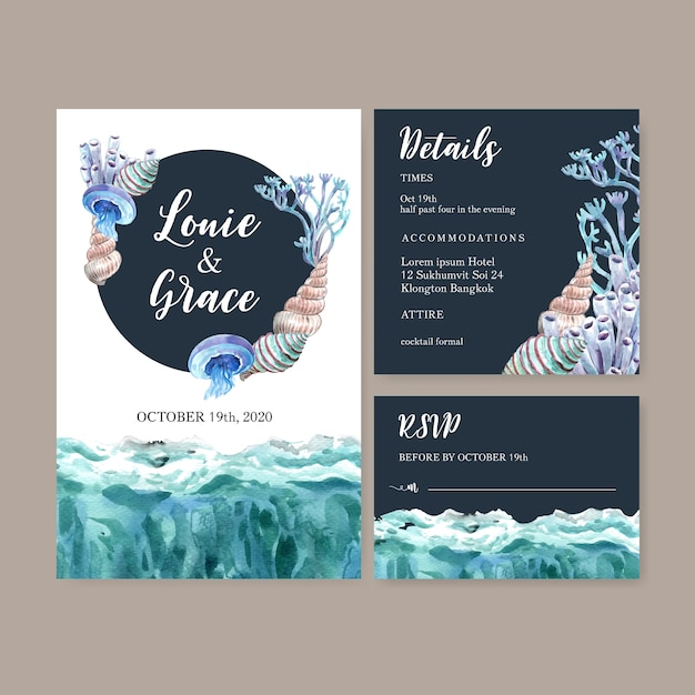 Wedding invitation watercolor with simple sealife theme, creative  illustration template. Free Vector