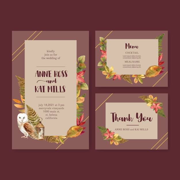 Wedding invitation watercolour with autumn theme Free Vector