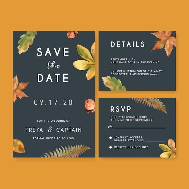 Wedding invitation watercolour with autumn theme Free Vector