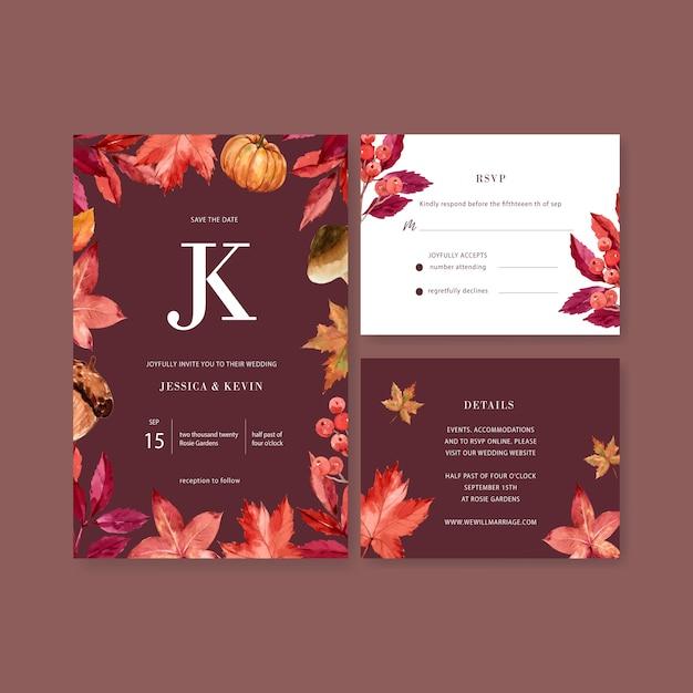 Wedding invitation watercolour with beautiful autumn theme Free Vector