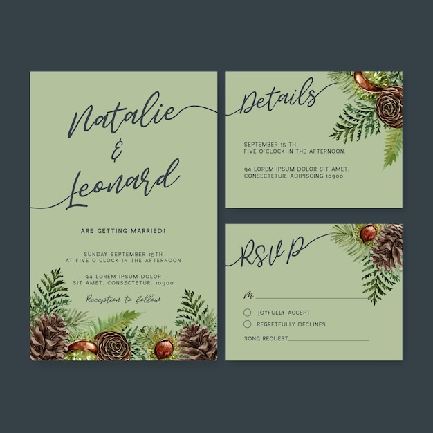 Wedding invitation watercolour with cool autumn theme Free Vector