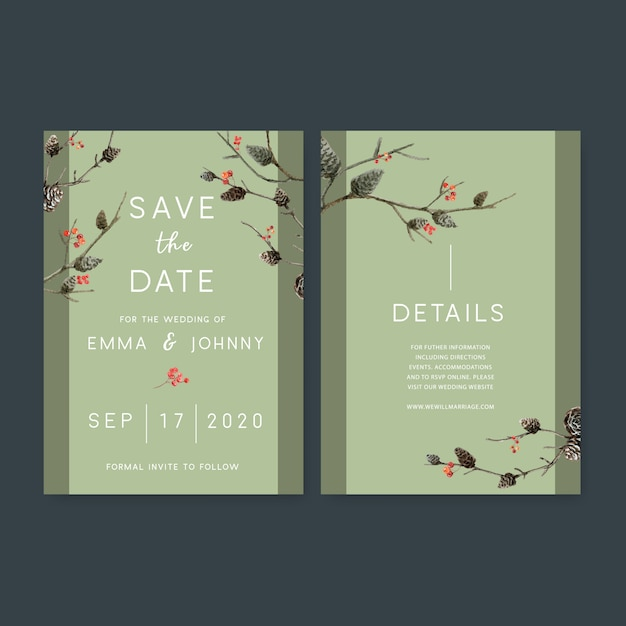 Wedding invitation watercolour with forest theme Free Vector