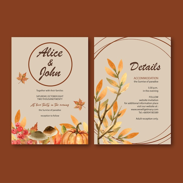 Wedding invitation watercolour with gentle autumn theme Free Vector