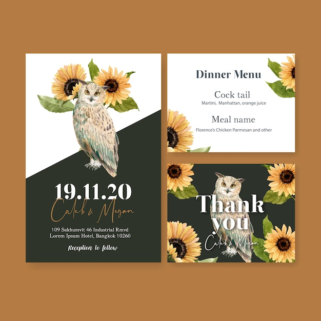 Wedding invitation watercolour with sunflower and owls Free Vector