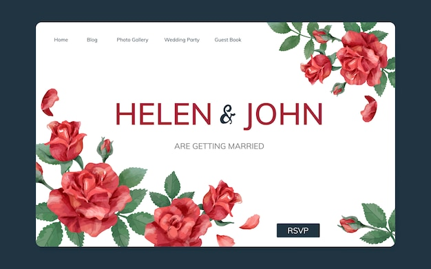 Wedding invitation website with a floral theme Free Vector
