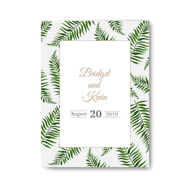 Wedding invitation  white background Premium Vector