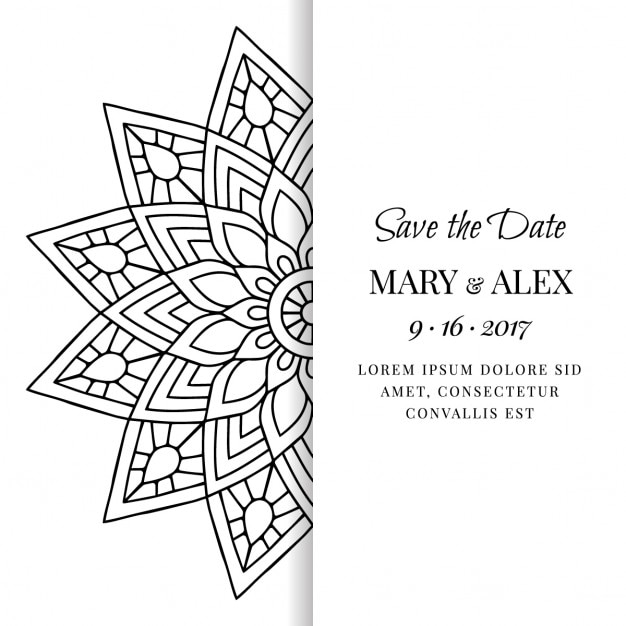 Wedding invitation with a black and white mandala vector free wedding invitation with a black and white mandala free vector stopboris Images