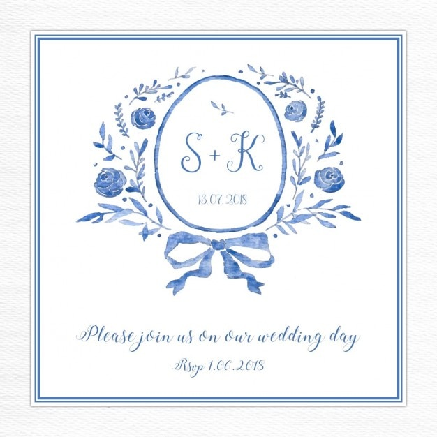 Wedding Invitation With A Blue Floral Frame Free Vector