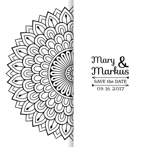 Wedding invitation with a cute black and white floral mandala wedding invitation with a cute black and white floral mandala free vector stopboris Images