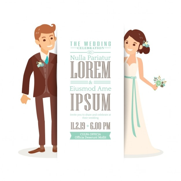 Wedding invitation with a cute bride and groom Free Vector