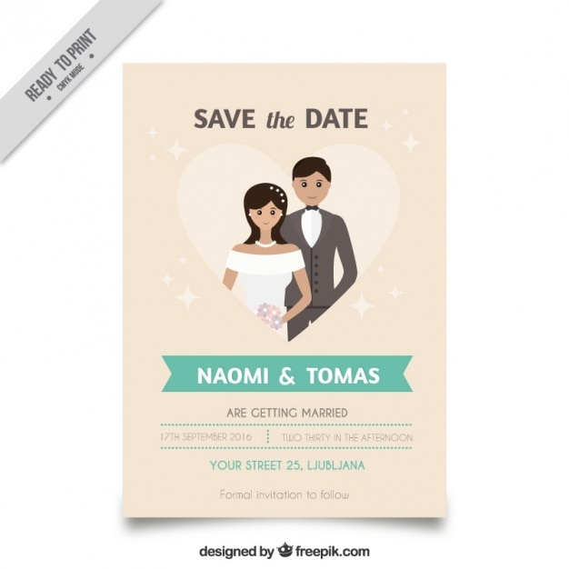wedding invitation with a cute couple inside a heart vector free