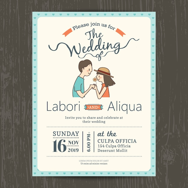 Wedding invitation with a cute couple Free Vector
