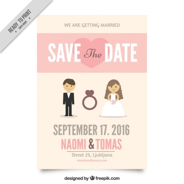 wedding invitation with a cute couple vector | free download, Wedding invitations