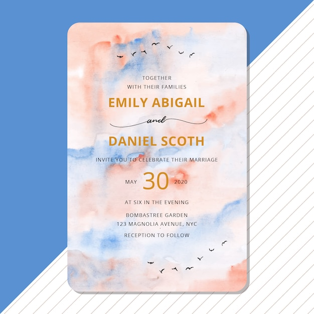 Wedding invitation with abstract sky watercolor background Premium Vector