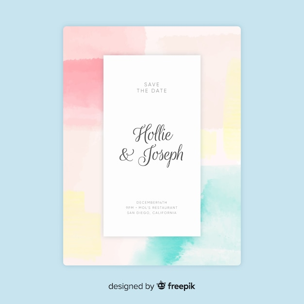 Wedding invitation with abstract template hand painted Free Vector