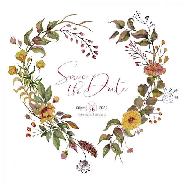 Wedding invitation with autumn heart wreath Premium Vector