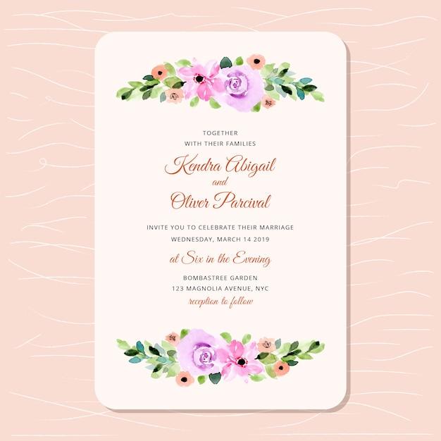 Wedding invitation with beautiful floral watercolor Premium Vector