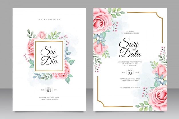 Wedding invitation with beautiful floral watercolor Premium Vector