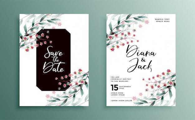 Свадебные приглашения с красивым цветочным дизайном Бесплатные векторы
