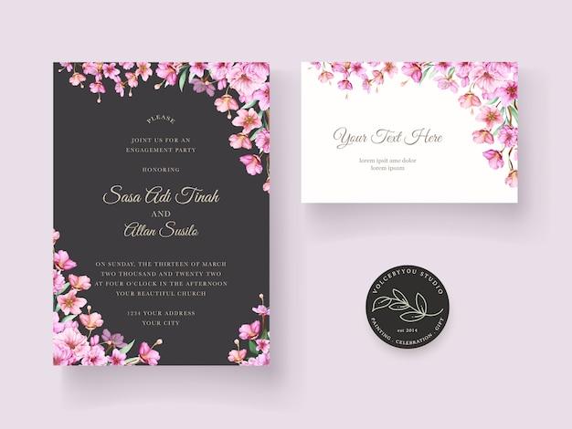 Wedding invitation with beautiful flower decoration design Free Vector