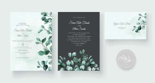 Wedding invitation with beautiful flower decoration design Free Vector