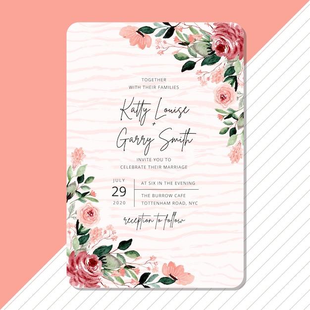 Wedding invitation with beautiful flower watercolor border Premium Vector