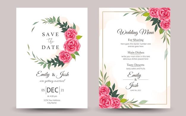 美しい花と結婚式の招待状 Premiumベクター
