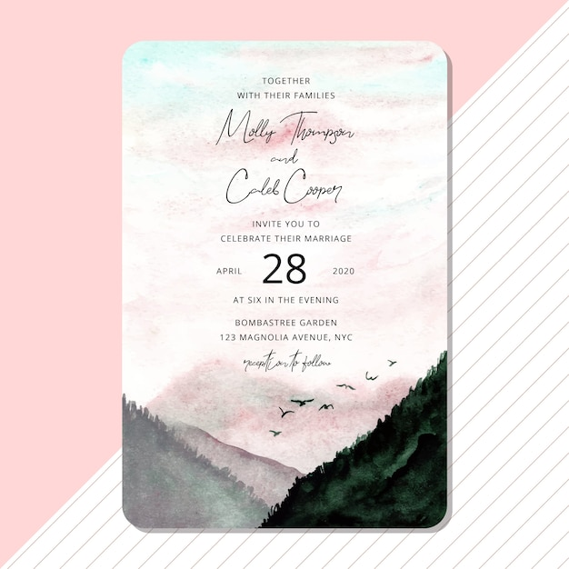 Wedding invitation with beautiful landscape watercolor background Premium Vector