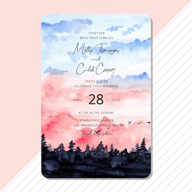 Wedding invitation with beautiful landscape watercolor Premium Vector